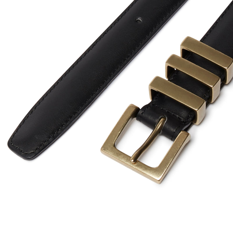 Three Passant Belt - Gold/Black Leather