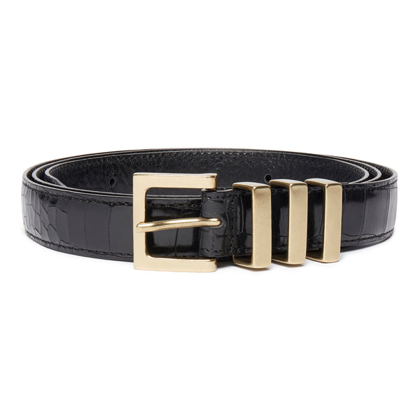 Three Passant Belt - Gold/Black Croc Leather