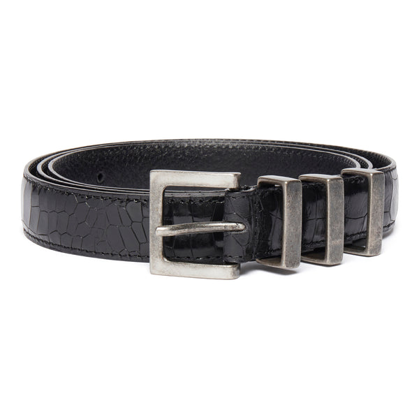 Three Passant Belt - Silver/Black Croc Leather
