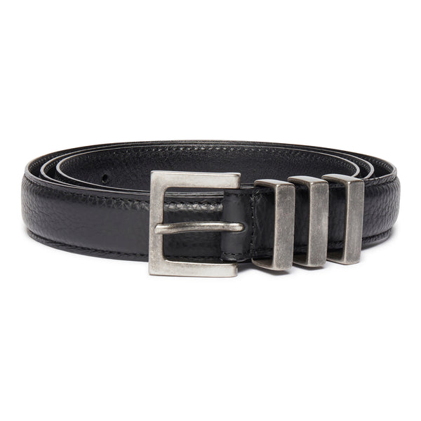 Three Passant Belt - Silver/Black Grained Leather