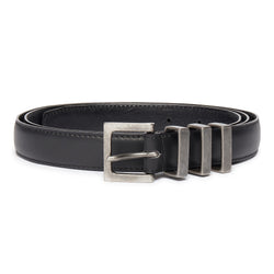 Three Passant Belt - Silver/Black Leather