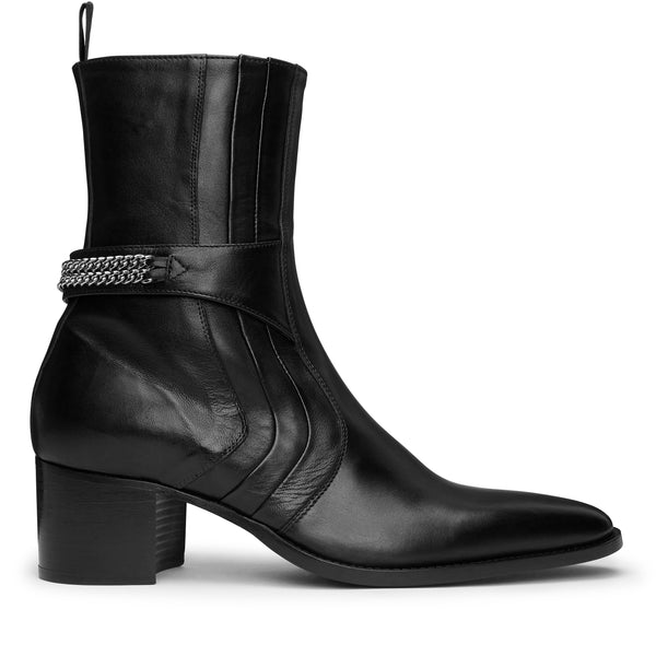 Gianni 60mm Chain Side Zip Boot - Black Leather