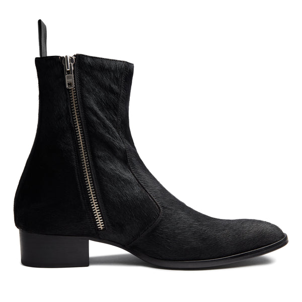 Luca 40mm Side Zip Boot - Black Pony Hair