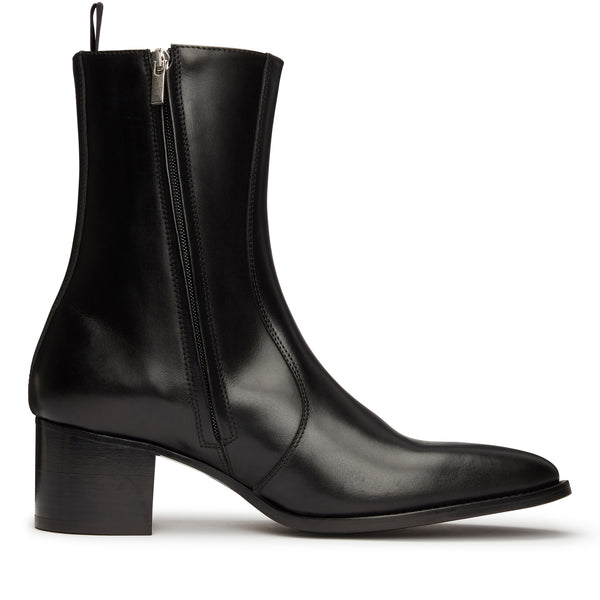 Gianni 60mm Side Zip Boot - Black Leather