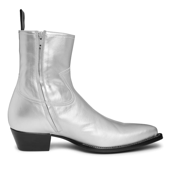 Diego 45mm Side Zip Western Boot - Silver Leather