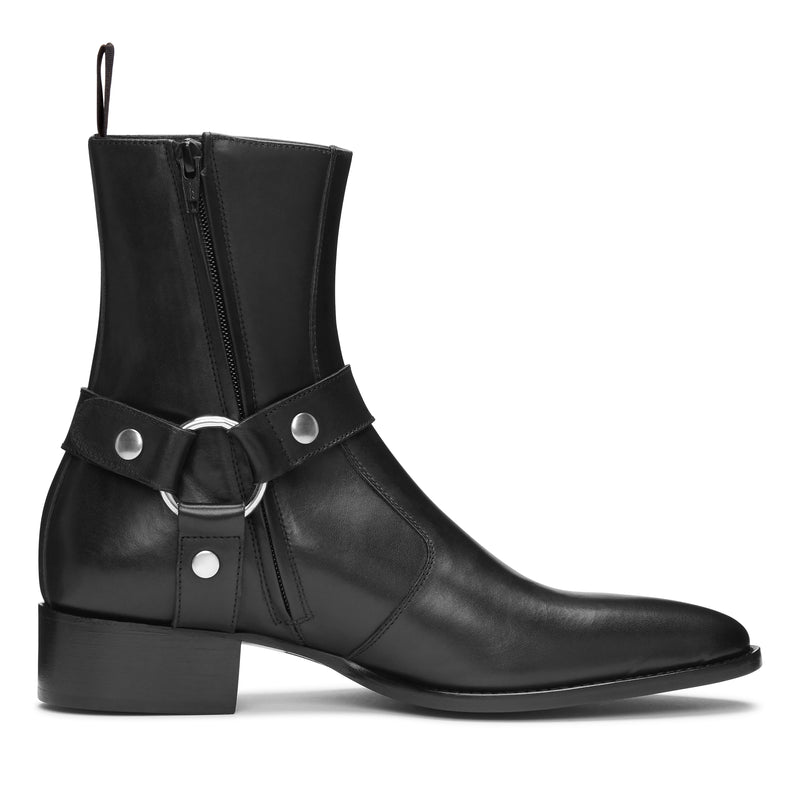 Enzo 40mm Harness (Concealed) Zip Boot - Black Leather