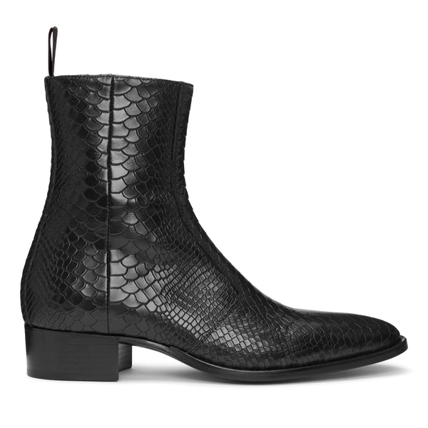 Luca 40mm Side Zip Boot - Black Python Leather