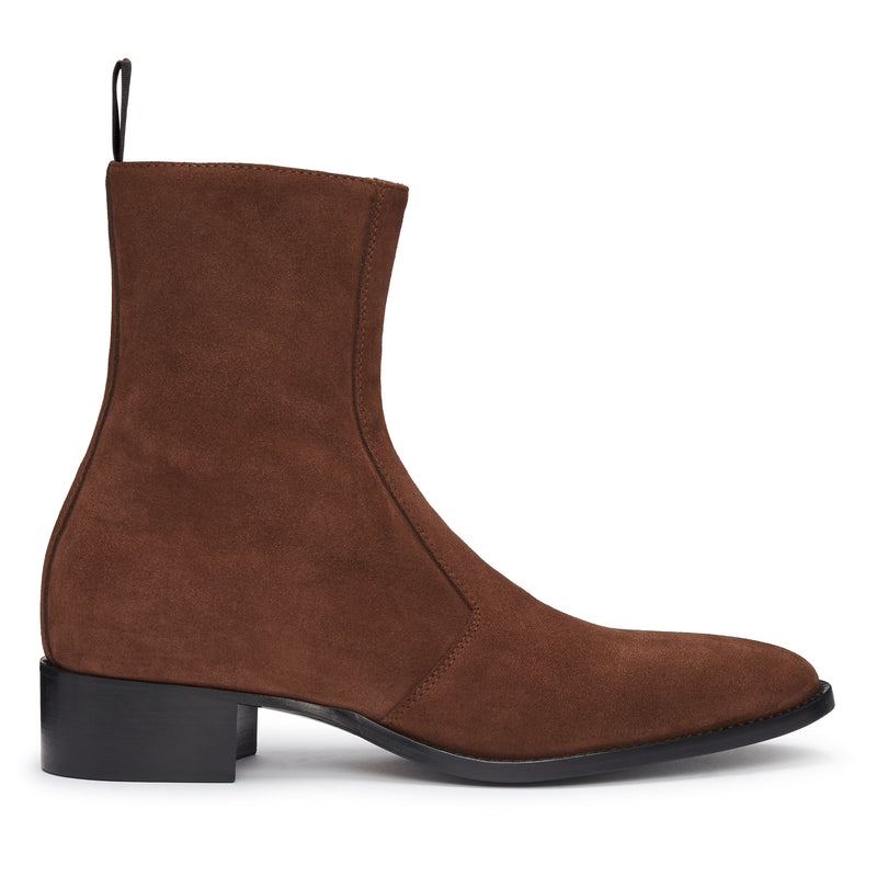 Luca 40mm Side Zip Boot - Espresso Suede