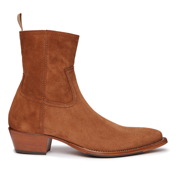 Diego 45mm Side Zip Western Boot - Tobacco Suede