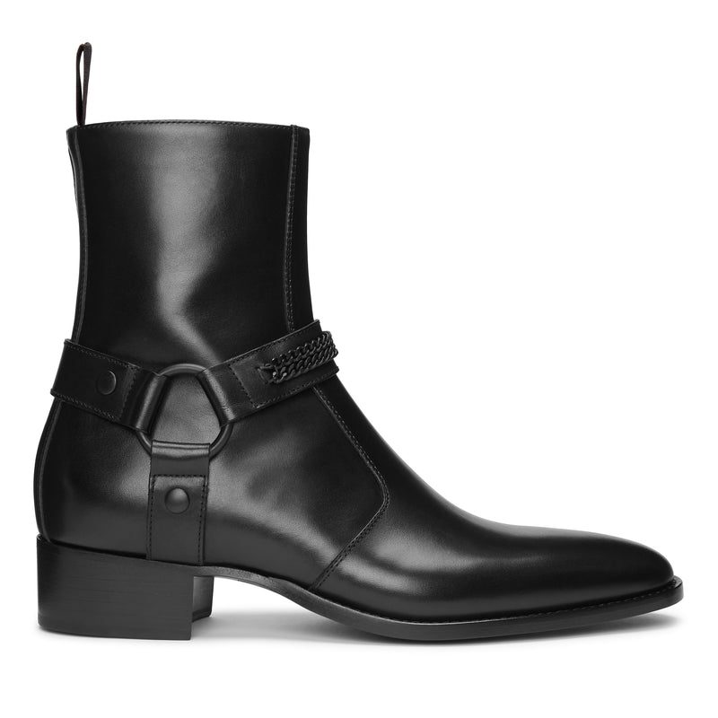 Enzo 40mm Chain Harness (Concealed) Zip Boot - Black Leather