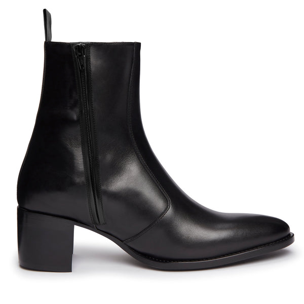 Luca 60mm Side Zip Boot - Black Leather