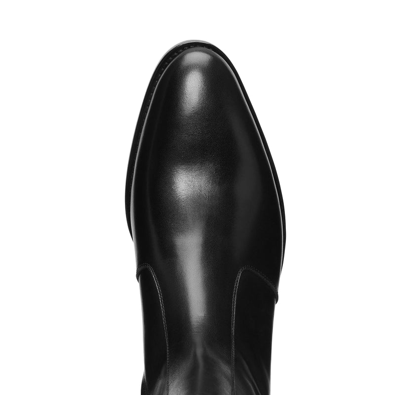 Luca 40mm (Concealed) Side Zip Boot - Black Leather
