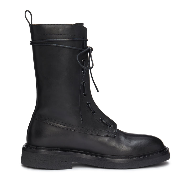 Lorenzo Combat Boot - Black Leather