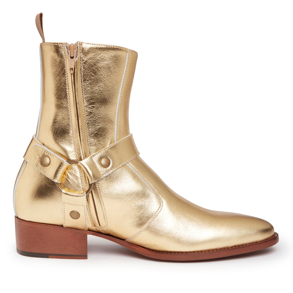 Enzo 40mm Harness Zip Boot - Gold Leather