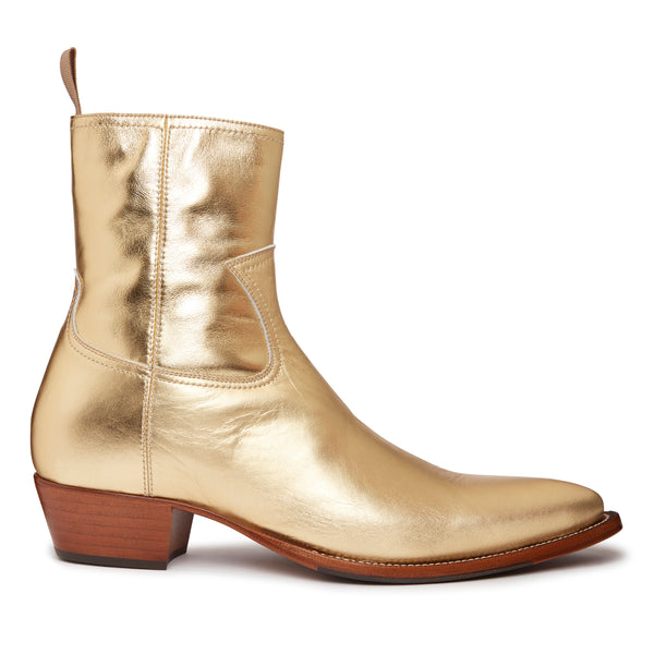 Diego 45mm Side Zip Western Boot - Gold Leather