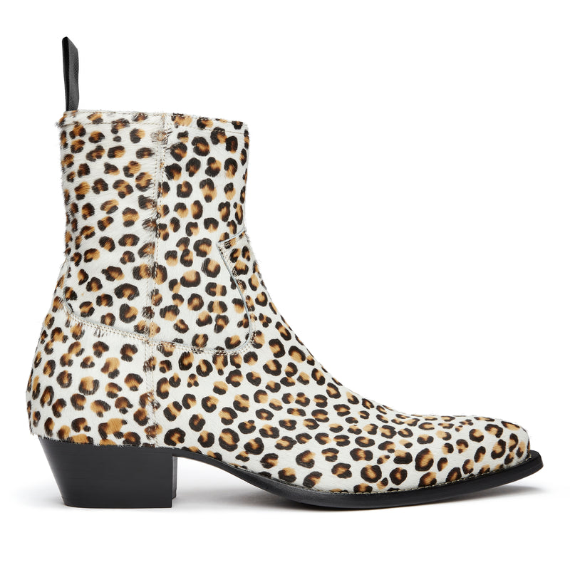 Diego 45mm Side Zip Western Boot - Leopard Print Pony Hair