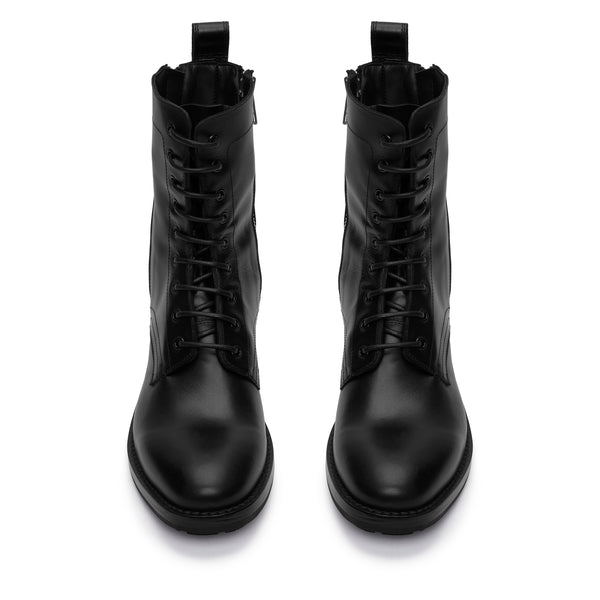 Sergio Zip Combat Boot - Black Leather