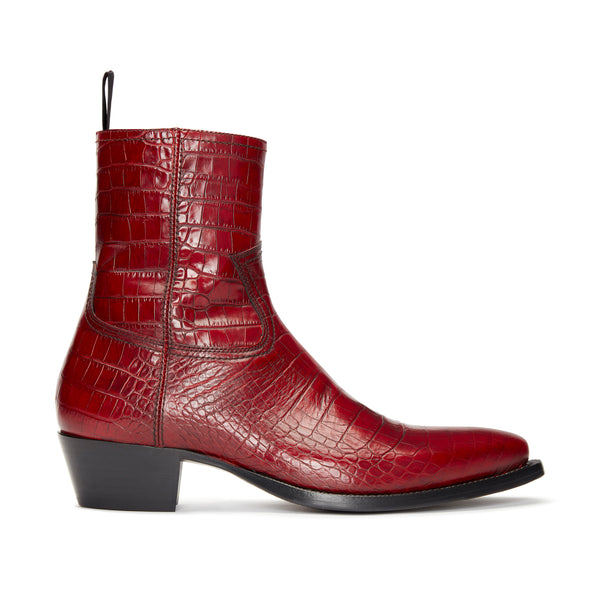 Daria 45mm Side Zip Western Boot - Red Croc