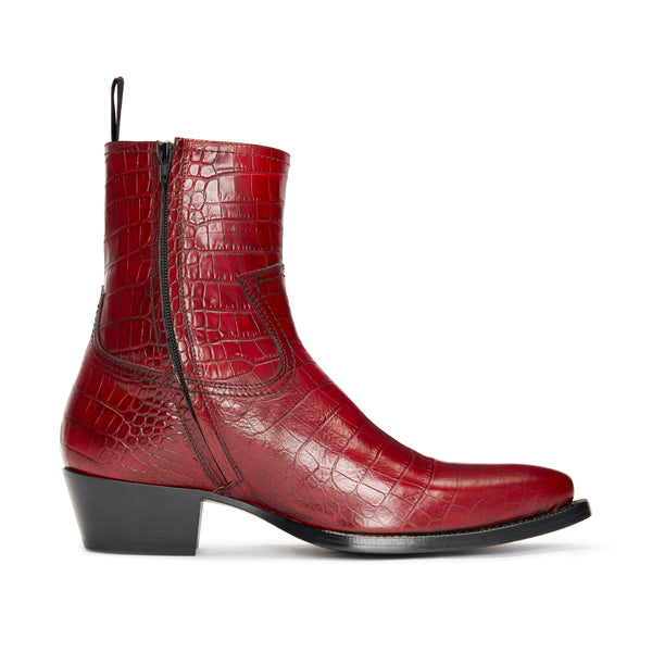 Womens Daria 45mm Side Zip Western Boot - Red Croc