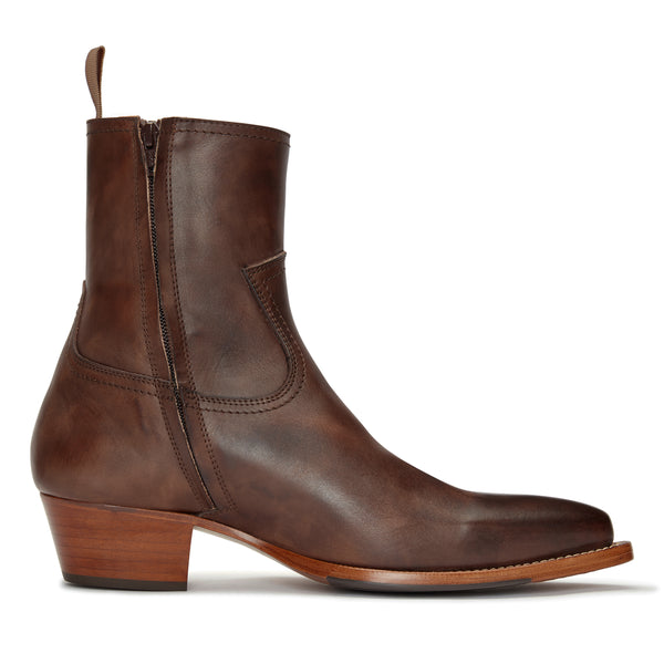 Diego 45mm Side Zip Western Boot - Brown Hand-Dyed Leather