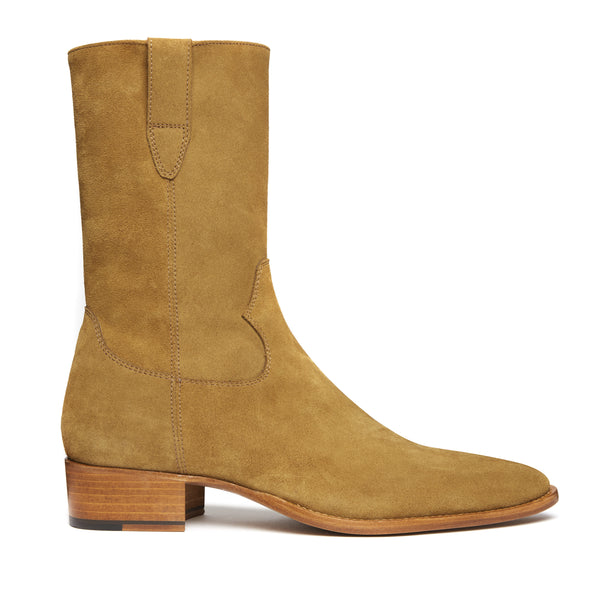Buttero 40mm Side Zip Cowboy Boot - Ochre Suede