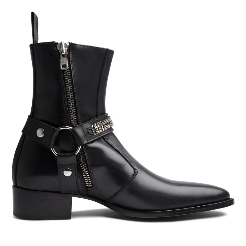 Enzo 40mm Chain Harness Zip Boot - Black Leather