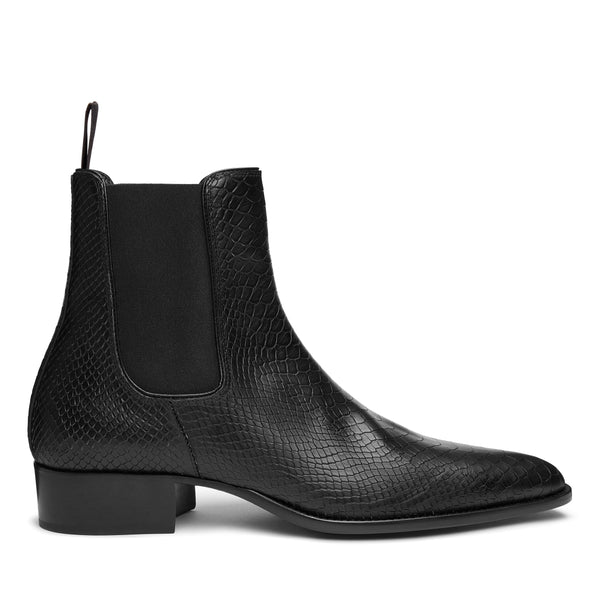 Stefano 40mm Short Chelsea Boot - Black Python-Effect