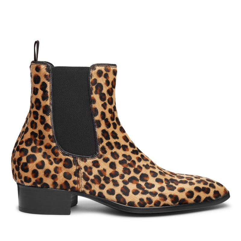 Stefano 40mm Short Chelsea Boot - Leopard Print Pony Hair