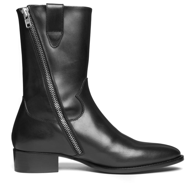 40mm Side Zip Cowboy Boot - Black Leather