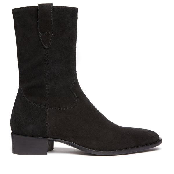 Buttero 40mm Side Zip Cowboy Boot - Black Suede