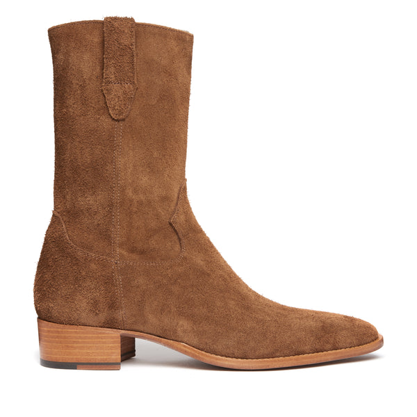 Buttero 40mm Side Zip Cowboy Boot - Nut Suede