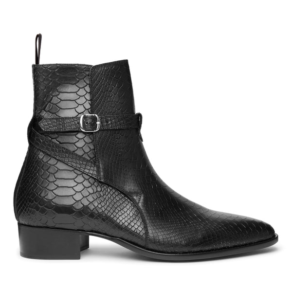 Giorgio 40mm Jodhpur Boot - Black Python-Effect