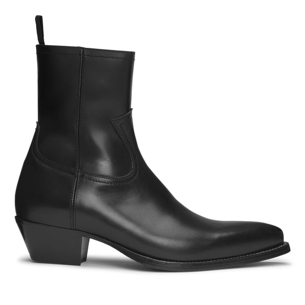 Diego 45mm Side Zip Western Boot - Black Leather