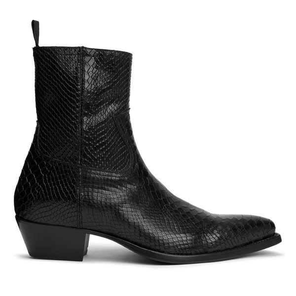 Diego 45mm Side Zip Western Boot - Black Python-Effect