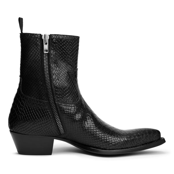 Diego 45mm Side Zip Western Boot - Black Python
