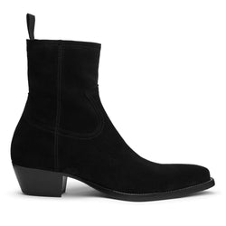 Diego 45mm Side Zip Western Boot - Black Suede