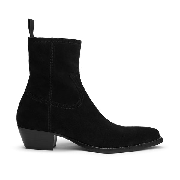 Daria 45mm Side Zip Western Boot - Black Suede