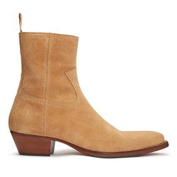 Diego 45mm Side Zip Western Boot - Lion Suede