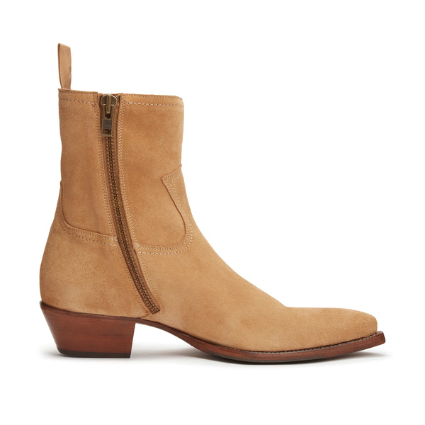 Daria 45mm Side Zip Western Boot - Lion Suede