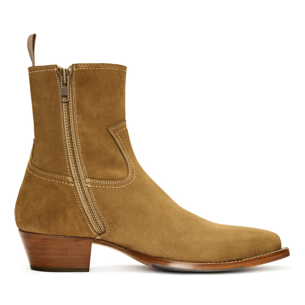Diego 45mm Side Zip Western Boot - Ochre Suede