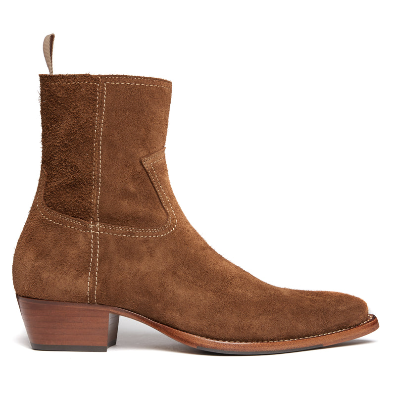 Diego 45mm Side Zip Western Boot - Nut Suede
