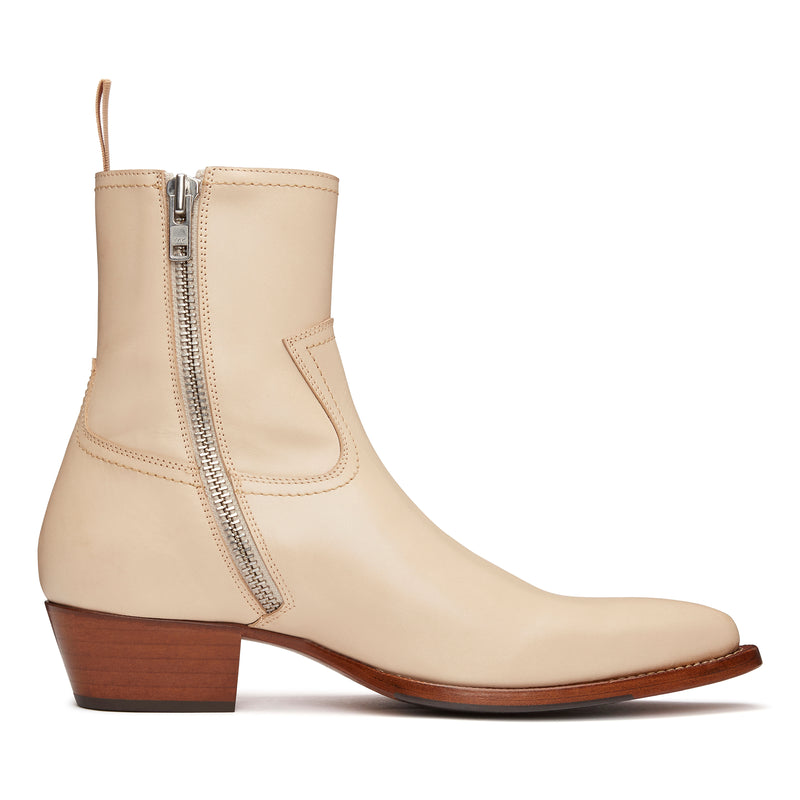 Diego 45mm Side Zip Western Boot - Natural Leather