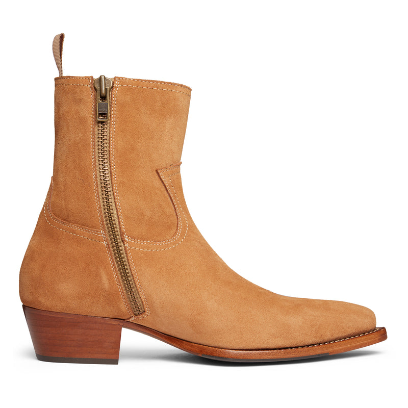 Diego 45mm Side Zip Western Boot - Camel Suede
