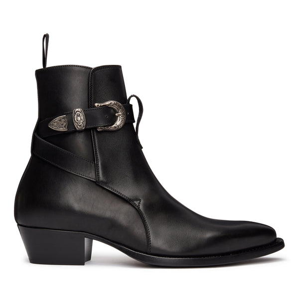 Diego 45mm Western Jodhpur Boot - Black Leather