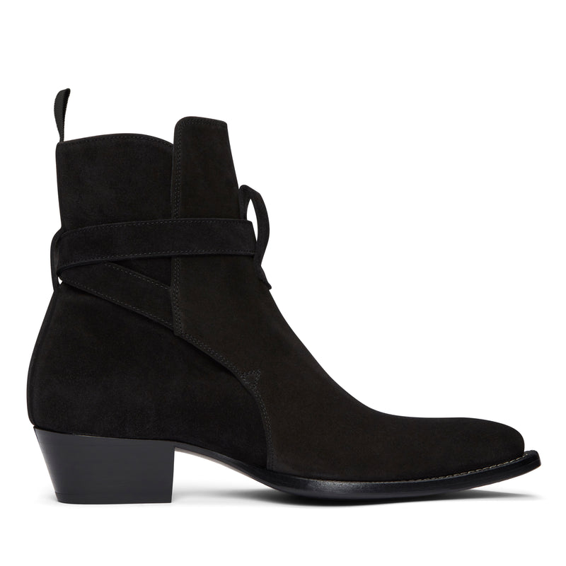 Diego 45mm Western Jodhpur Boot - Black Suede