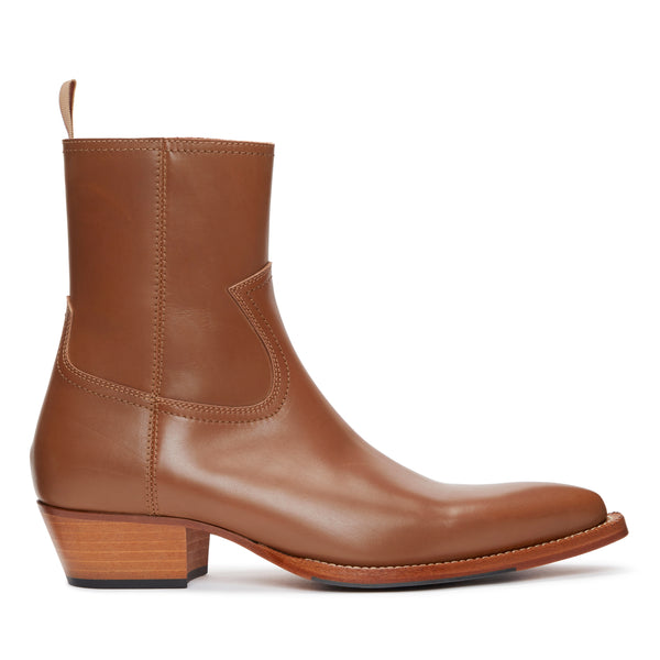 Diego 45mm Side Zip Western Boot - Brown Leather
