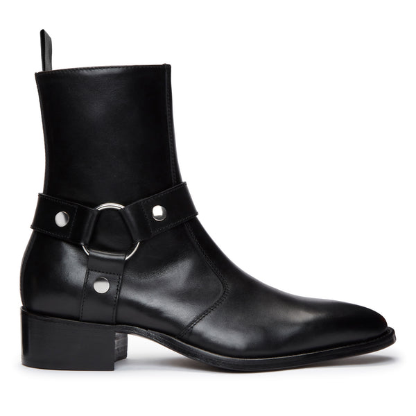 Womens Elisa 40mm Harness Zip Boot - Black Leather