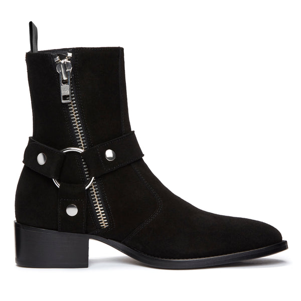 Womens Elisa 40mm Harness Zip Boot - Black Suede