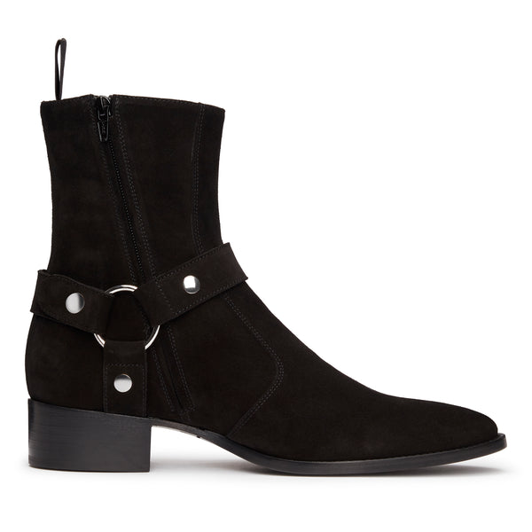 Enzo 40mm Harness (Concealed) Zip Boot - Black Suede