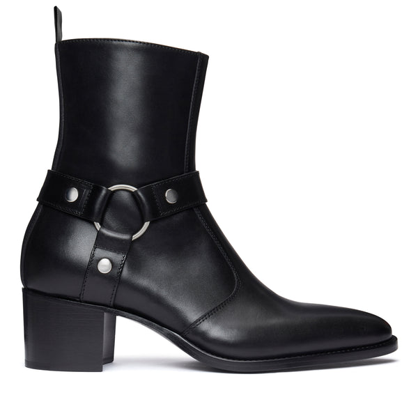 Enzo 60mm Harness Zip Boot - Black Leather